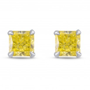 Fancy Intense Yellow Radiant Diamond Stud Earrings, SKU 295788 (0.96Ct TW)