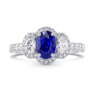 Blue Sapphire and Diamond Oval 3 Stone Ring, SKU 297511 (2.03Ct TW)