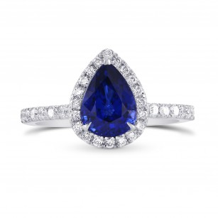 Pear Sapphire & Diamond Halo Ring, SKU 297512 (2.34Ct TW)