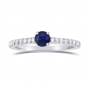 Round Sapphire & Diamond Engagement Ring, SKU 297515 (0.63Ct TW)