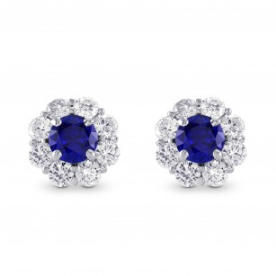 Round Sapphire and Brilliant Diamond Halo Earrings, SKU 297562 (2.86Ct TW)