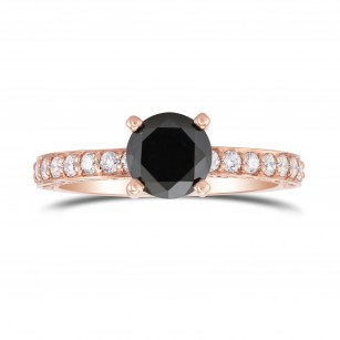 Black Round Brilliant Diamond Side Stone Ring, SKU 297782 (1.49Ct TW)