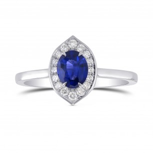 Oval Sapphire Halo Ring, SKU 298224 (0.74Ct TW)