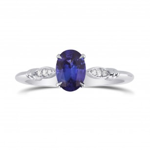 Blue Sapphire and Diamond  Oval Side Stones Ring, SKU 298870 (0.79Ct TW)