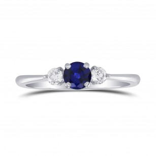Blue Sapphire and Diamond Round Brillant 3 Stones Ring, SKU 298871 (0.54Ct TW)
