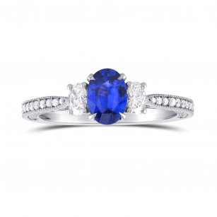 Blue Sapphire & Diamond 3 Stone and Millgrain Ring, SKU 298874 (1.08Ct TW)