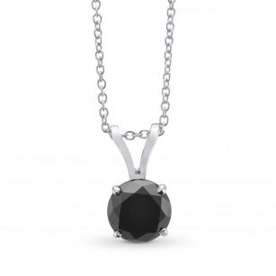 Round Black Diamond Solitaire Pendant, SKU 299239 (1.37Ct)