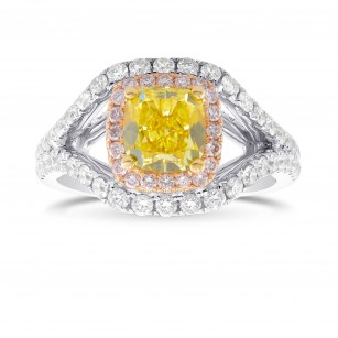 Vivid Yellow Cushion Shape, Fancy Pink and White Diamond Side Stones Ring, SKU 300700 (1.92Ct TW)