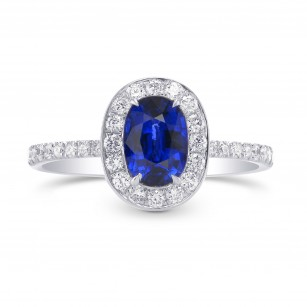 Sapphire and Diamond  Halo Ring, SKU 301431 (1.61Ct TW)