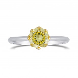 Fancy Yellow Round Brilliant Diamond Solitaire Ring, SKU 302080 (0.94Ct)