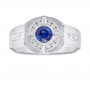 Sapphire and Diamond Round Brilliant Men's Ring, SKU 302349 (1.29Ct TW)