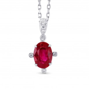 Pinkish Red Ruby and Diamond Solitaire Pendants, SKU 303400 (0.97Ct TW)