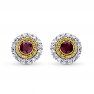Ruby & Fancy Intense Yellow Diamond Halo Earrings, SKU 304007 (1.63Ct TW)