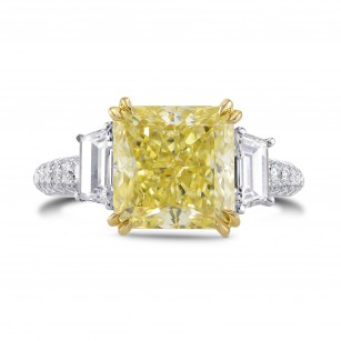 Fancy Light Yellow Radiant & Trapezoid Diamond Ring, SKU 304253 (5.31Ct TW)