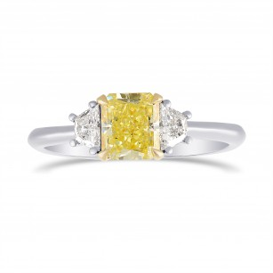 Fancy Yellow Radiant Diamond 3 Stones Ring, SKU 306472 (1.31Ct TW)