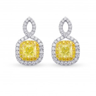 Fancy Yellow Cushion Double Halo Diamond Earrings, SKU 306476 (1.83Ct TW)