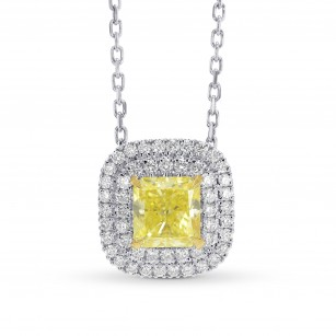 Fancy Intense Yellow Double Halo Pendant, SKU 306503 (0.95Ct TW)