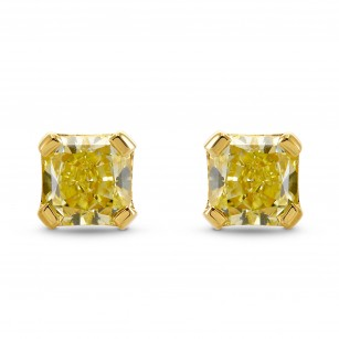 Fancy Light Yellow Radiant Stud Earrings, SKU 308757 (0.89Ct TW)