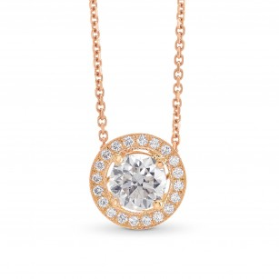 Round Brilliant Rose Gold Halo Pendant, SKU 308821 (0.83Ct TW)