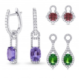 Mood Design Gemstones and Diamond Halo Drop Earrings, SKU 311744 (8.27Ct TW)