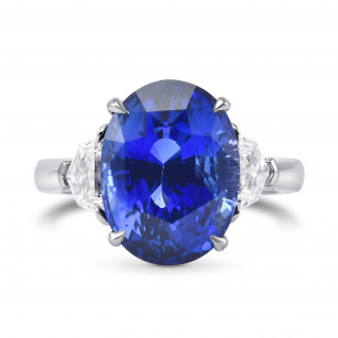 Extraordinary Oval Blue Sapphire and Diamond 3 Stone Ring, SKU 313162 (9.71Ct TW)