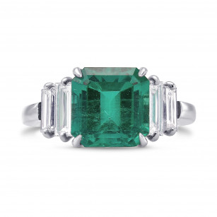Emerald and Diamond Extraordinary Side Stone Ring, SKU 313170 (4.41Ct TW)
