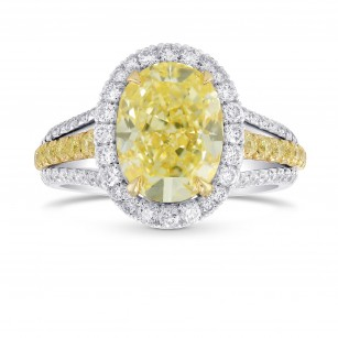 Fancy Light Yellow Oval Halo and Split Shank Ring, SKU 313382 (3.80Ct TW)