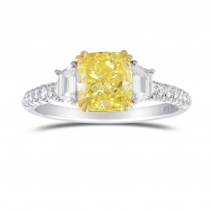 Fancy Yellow, Cushion and Trapezoid 3 Stone Diamond Ring, SKU 315657 (2.21Ct TW)