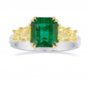 Emerald shape Green Emerald Gemstone  Mix Side Stones Ring, SKU 315771 (3.70Ct TW)