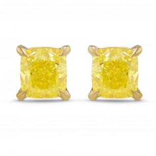 Fancy Intense Yellow Cushion Stud Earrings, SKU 317575 (1.20Ct TW)