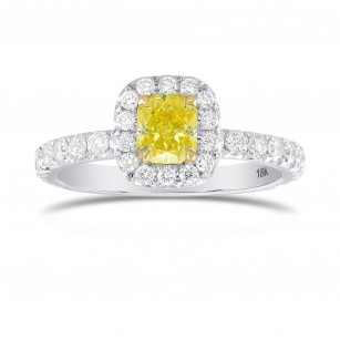 Fancy Intense Yellow Radiant, Queens Halo Diamond Ring, SKU 319606 (1.27Ct TW)