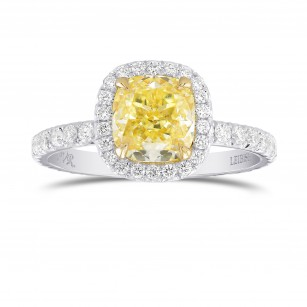 Fancy Yellow Cushion Diamond Halo Ring, SKU 320539 (2.91Ct TW)