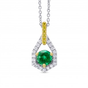 Round Green Emerald, Yellow and White Diamond Pendant, SKU 320696 (0.69Ct TW)