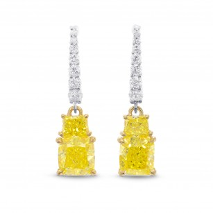 Fancy Intense Yellow Cushion and Vivid Yellow Taper Diamond Drop Earrings, SKU 320699 (2.83Ct TW)