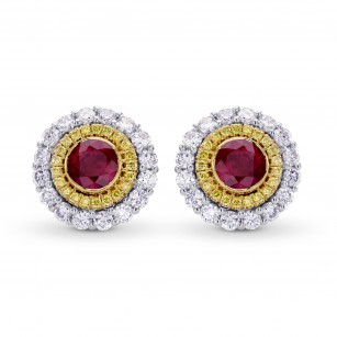 Fancy Intense Yellow & White Diamond Halo Earrings, SKU 3210S