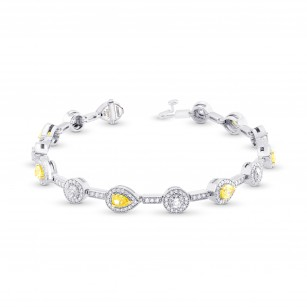Fancy Yellow and White Diamond Halo Milgrain Bracelet, SKU 322181 (4.20Ct TW)
