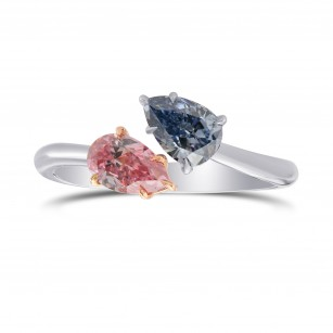 Argyle Fancy Intense Pink & Fancy Vivid Blue Pear 2 Stone Diamond Ring, SKU 322481 (1.00Ct TW)