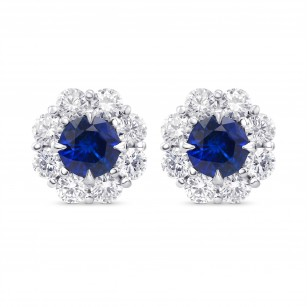 Blue Sapphire and Diamond Round Brilliant Halo Earrings, SKU 322658 (2.91Ct TW)