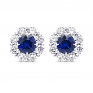 Blue Sapphire and Diamond Round Brilliant Halo Earrings, SKU 322658 (2.91Ct TW)