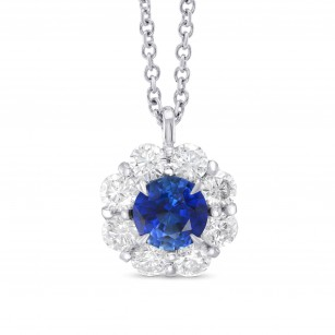 Sapphire and Diamond Round Brilliant Halo Pendant, SKU 323216 (1.35Ct TW)