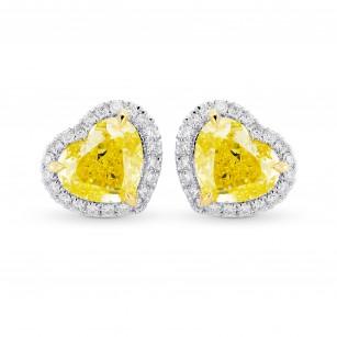 Fancy Intense Yellow Heart Shape Diamond Halo Earrings, SKU 323652 (1.77Ct TW)