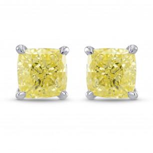 Fancy Yellow Cushion Diamond Stud Earrings, SKU 323838 (1.53Ct TW)