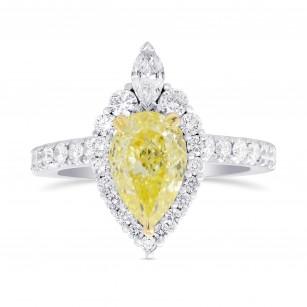 Fancy Light Yellow Pear Halo Diamond Ring, SKU 324297 (1.61Ct TW)
