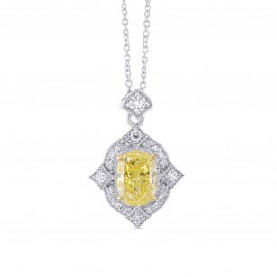 Oval Fancy Light Yellow  Diamond Vintage Style Pendant, SKU 325827 (1.37Ct TW)