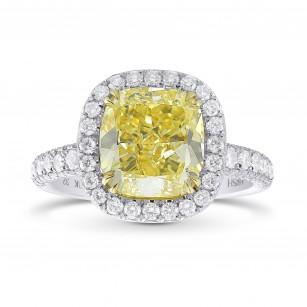 Extraordinary Fancy  Yellow Cushion Diamond  Halo Ring, 商品编号 325890 (4.45克拉)