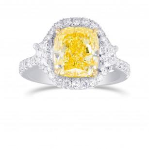 Fancy Yellow Cushion 3 Stones Halo Diamond Ring, SKU 326399 (4.61Ct TW)