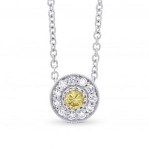 Fancy Intense Yellow & Round Pave Diamond Pendant, SKU 327208 (0.22Ct TW)