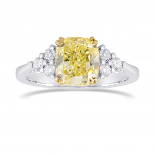Fancy Light Yellow Cushion Side Stone Diamond ring, SKU 328549 (3.42Ct TW)