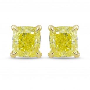 Fancy Yellow Cushion Diamond Stud Earrings, SKU 333259 (1.60Ct TW)