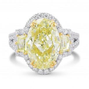 Light Yellow Oval 3 stones Halo Diamond Ring, SKU 334705 (6.39Ct TW)